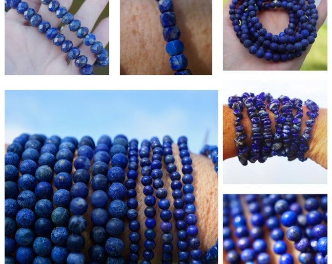 Faceted Lapis Lazuli Bracelet - 6 to choose from - Stretch Beaded Bracelets - These Healing Crystals can assist w addictive behavior BDLA