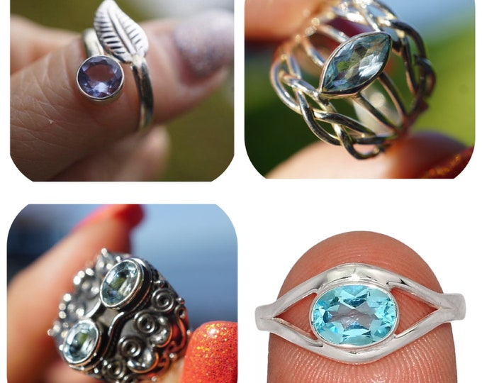 Faceted BLUE TOPAZ Ring set 925 Silver Adjustable and Size 6, 7, 7.5, 8.5 - This Healing Crystal may uplift your mood and sooth headache