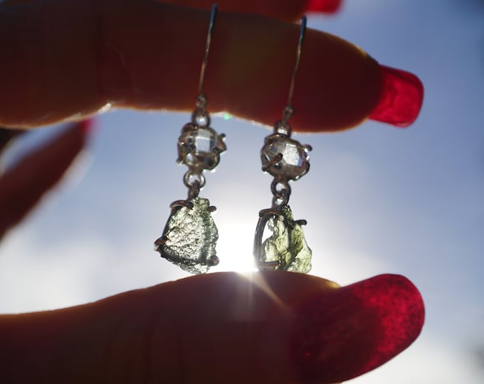 "Raw MOLDAVITE and Tibetan Black Quartz Earrings - 1.4"" 2.8g - 925 Silver - This Healing Crystal can rapidly pave your spiritual path EGX34"