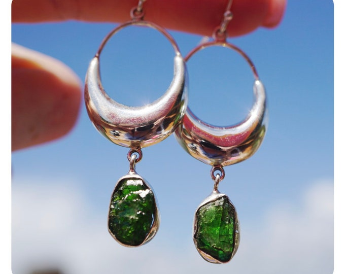 "Raw CHROME DIOPSIDE Earrings in 925 Silver - This Healing Crystal can Ease Over-Welming Thoughts  2.5"" 6.9g JA98"