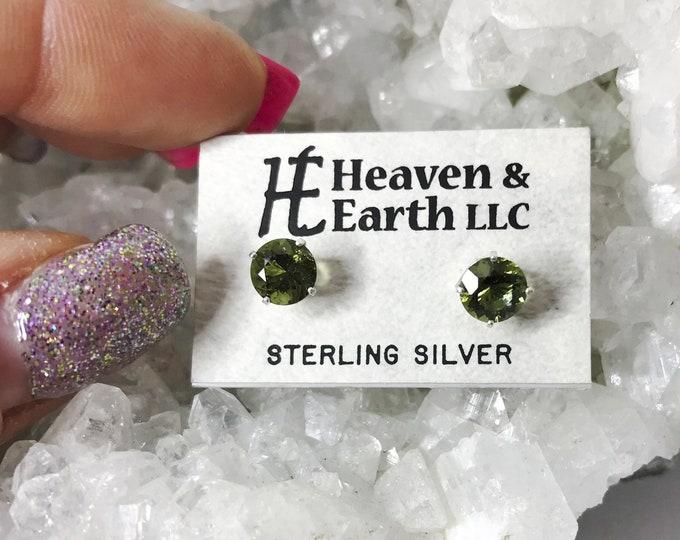 Faceted MOLDAVITE Earrings - Genuine Moldavite Studs - Round boho - 925 silver or 14kt Gold (3, 4, 5 or 6mm) M646 M647 M648 M649