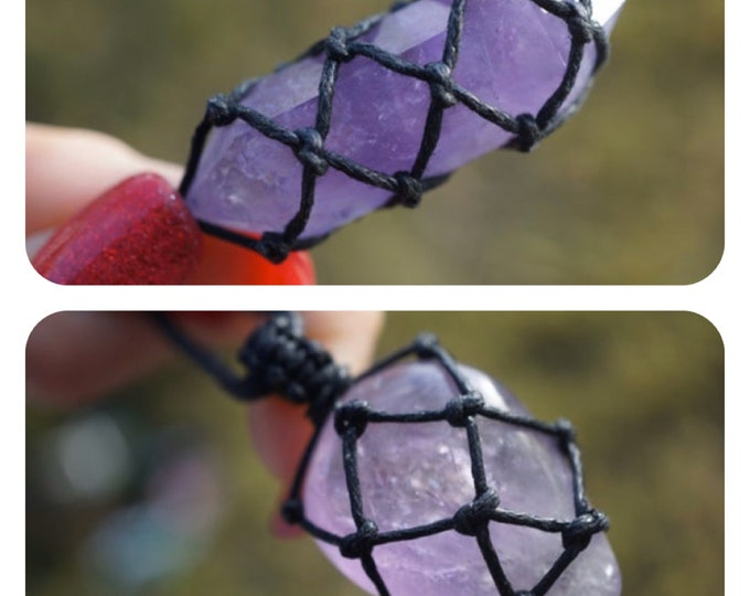 "Purple AMETHYST Point Necklace - Crystal Hemp Wrap - This Healing Crystal can help Connect, Protect and Heal 1"" adj 18-26""  NEBAM01 NEBAM02"