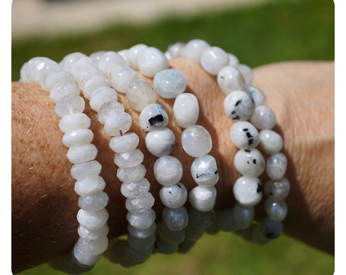 Faceted Rainbow MOONSTONE Bracelet -  7 inch Beaded Malas - These Crystals can make you feel Beautiful B88