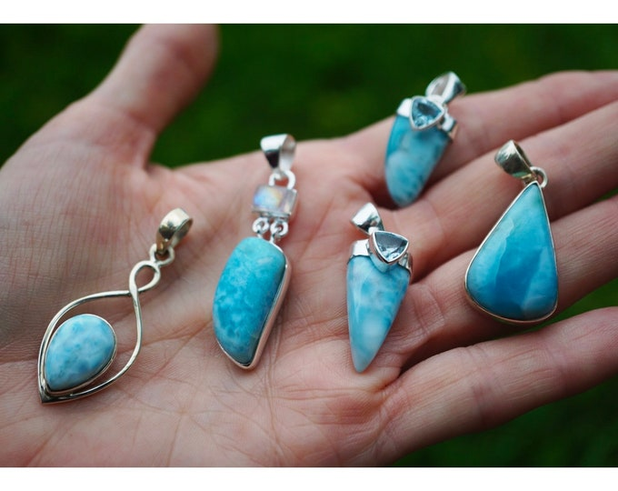 Polished Blue LARIMAR Pendant - Rainbow Moonstone - Blue Topaz - 925 Silver - These Healing Crystals can bring calm  BN1