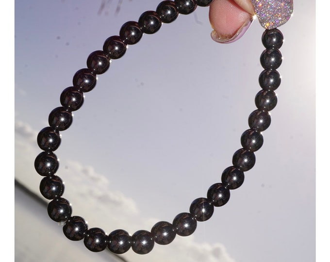 """Polished HEMATITE Beaded Bracelet - 6mm or nugget 7"""" stretch - This Healing Crystal can Surround you with Protection E88"""