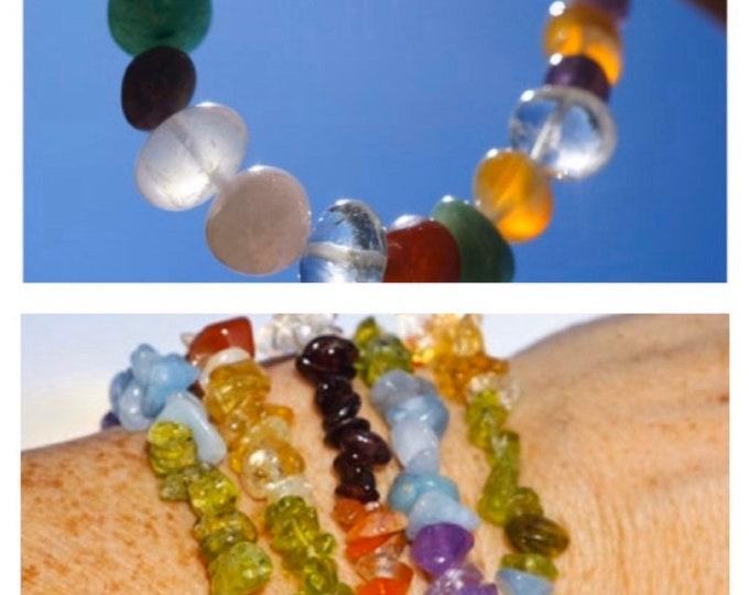 7 Stone CHAKRA Bracelet - Healing Bracelet Amethyst, Aquamarine, Peridot, Citrine, Carnelian, Garnet Yoga Bracelet 3 Styles BDICK