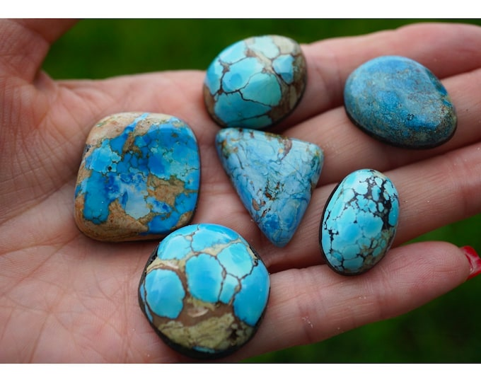 TURQUOISE Cabochons - Kazakhstan Mine in Russia Lavender Turquoise - Kingman Mine in Arizona -  Royston Mine in Nevada 30 yr old Collection