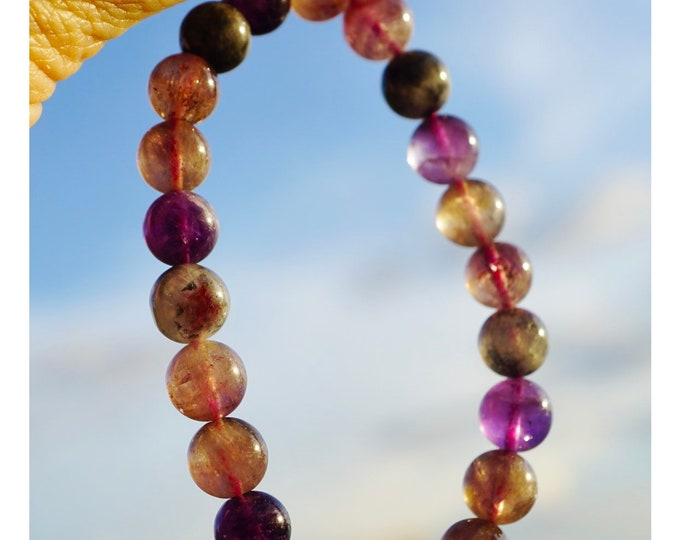 """Polished Auralite 23 Bracelet  5-6mm 7"""" Beads from Canada - This Healing Crystal is a Strong stone w/ 23 Minerals Inside Like Super 7 BD1AU1"""