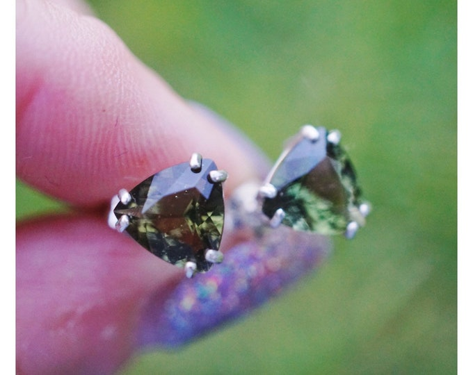 Faceted Moldavite Earrings - 925 Silver or 14kt Genuine Healing Crystal for Personal Evolution - 10, 8, 7, 6, 5mm M657 M658 M659 M660 M661