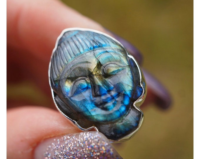Carved Blue LABRADORITE Budda Face Ring Size 8,8.5 & 10 - Full of FIRE - This Healing Crystal can provide Magic and Protection