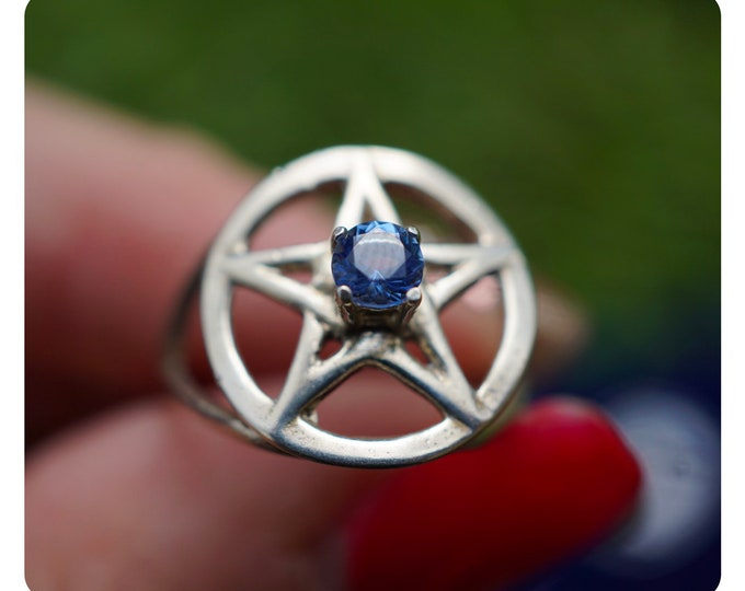 Faceted MOLDAVITE Ring Pentagram Ring 925 Silver -ALL Sizes 4 5 6 7 8 9 10 11 12 - This Healing Crystal can cause Evolution HF910