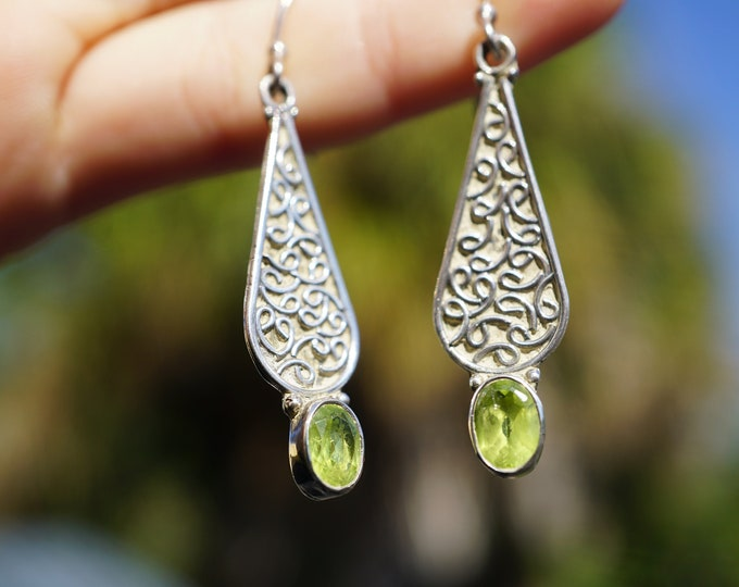 Faceted PERIDOT Earrings in 925 Sterling Silver 2 inches - This Healing Crystal can uplift your mood and sooth headaches