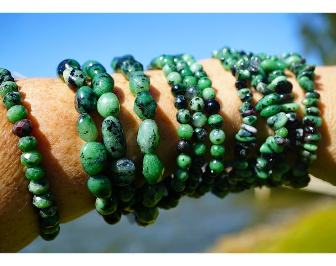 """Polished Anyolite/Ruby in Zoisite Bracelet - or 7.25"""" Beaded Stretch Bracelet  - This Healing Crystal can assist in fighting depression B88"""