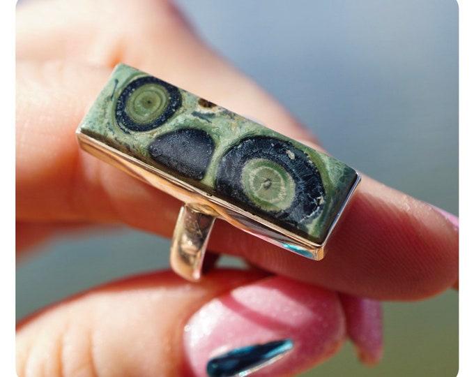 Green CROCODILE Rock Ring (aka: NEBULA & Kambaba Jasper ) Size 6 Perfect Pattern - This Green Healing Crystal can increase vitality JA52