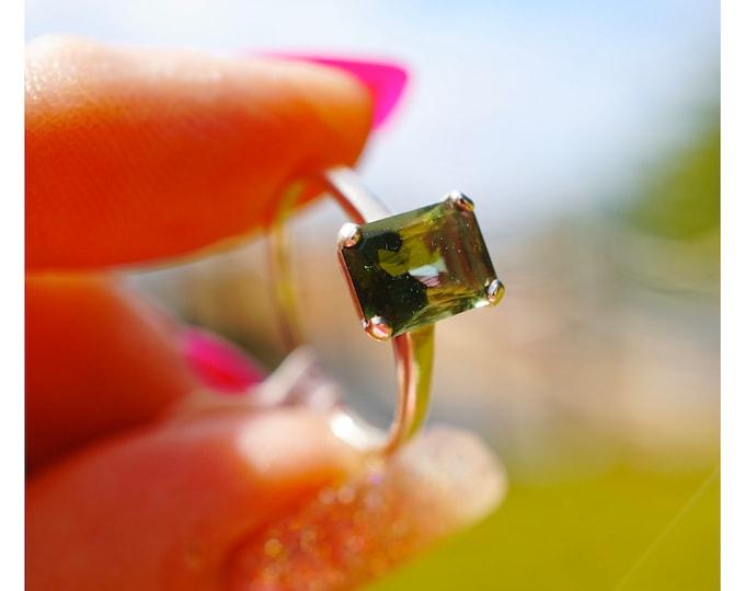 Faceted Moldavite Ring - Sterling Silver or 14kt Gold Green Moldavite - 8x6mm EC Sizes 4 5 6 7 8 9 10 11 12 13 Strong Healing Crystal  M613
