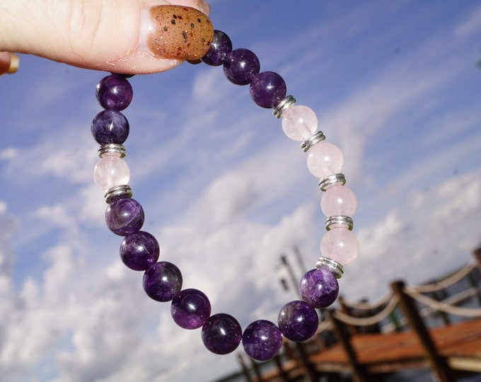 """Polished AMETHYST and ROSE QUARTZ Bracelet - 6mm beads 7 1/2"""" - This Healing Crystal can assist with addictive behavior -from Brazil- BR01"""