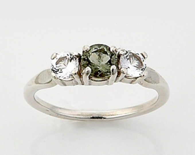 Faceted MOLDAVITE DANBURITE Ring  Round Silver Sizes 4 5 6 7 8 9 10 11 12 - Can Rapidly puts you on your Spiritual Path HM638