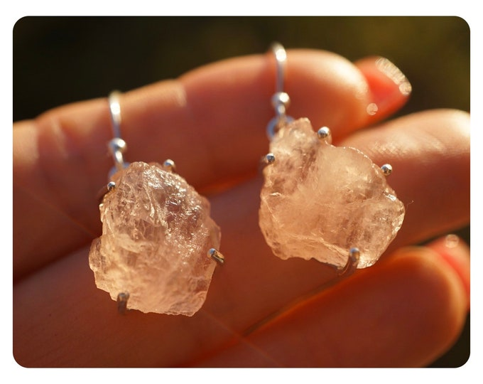 """Raw PEACH Pink MORGANITE Earrings - 1.5"""" 5.8g - 925 Silver - This Healing Crystal can have the Frequency of Divine Love JF26"""