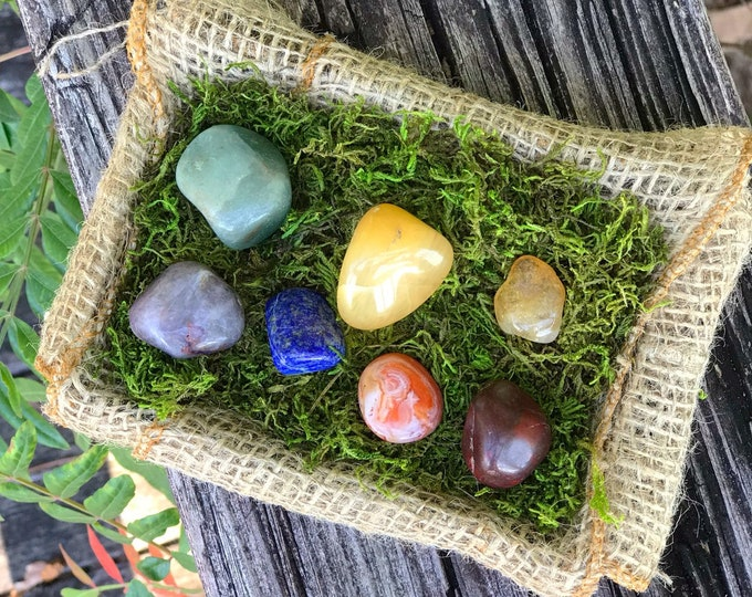 Tumbled Chakra Stones: Amethyst, Lapis, Aventurine, Citrine, Carnelian, Red Jasper - Crystals to activate all chakras for total healing T88