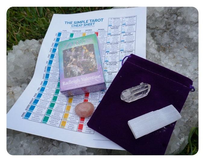 Learn Fairy Tarot Cards Kit - Doreen Virtue - 78Pcs Card Deck, Digital Guidebook, 3 charged clearing  Crystals & Purple Tarot Bag - TCFC78