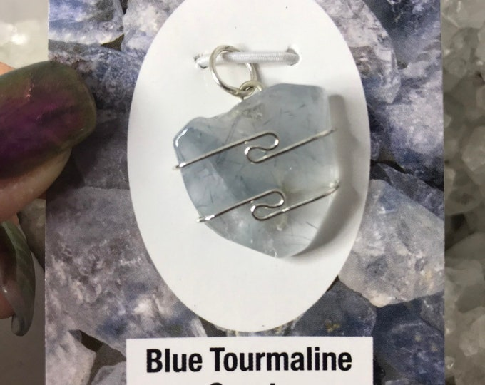 Polished Blue Tourmline or Indicolite Pendant - 925 Sterling Wire Wrap - This Healing Crystal is said to assist in a Psycic Opening