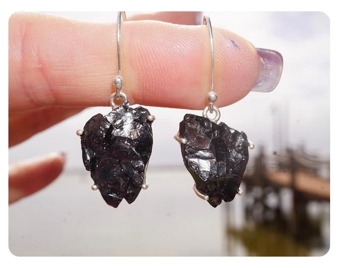 Noble Elite Silver SHUNGIATE Earrings from Karelia Russia -  925 Silver - Said to Heal Deep, Protects, Purifies EXSG2