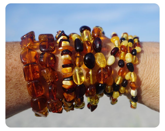 Polished BALTIC AMBER Beaded Bracelet - Genuine Amber - 7.2 inch stretch - This Healing Crystal can allow Deep Healing B88 K19