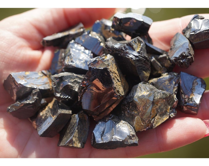 Raw Noble SHUNGITE Stone - Elite Silver Several Sizes Available - This Healing Crystal can Protect and Heal from EMF energies B5