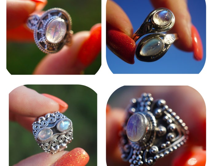 Rainbow MOONSTONE Ring in 925 Silver - 4 to choose from - This Healing Crystal can make you feel Beautiful RXMS