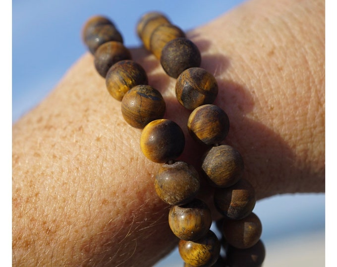 """Polished Matte TIGER EYE bracelet 8mm Round Shaped Beads - This Brown Healing Crystal can be the stone of willpower and strength 7.3"""" K26"""
