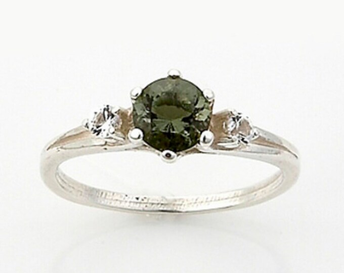 Faceted MOLDAVITE DANBURITE Ring  Round Silver Sizes 4 5 6 7 8 9 10 11 12 - Can Rapidly puts you on your Spiritual Path HM643