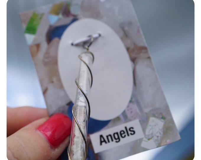 Raw Danburite Angel Aura Quartz Rose Quartz Angelite Satyaloka Clear Azeztulite* White Azeztulite Quartz Crystal Vial ANGELS Pendant HCV001