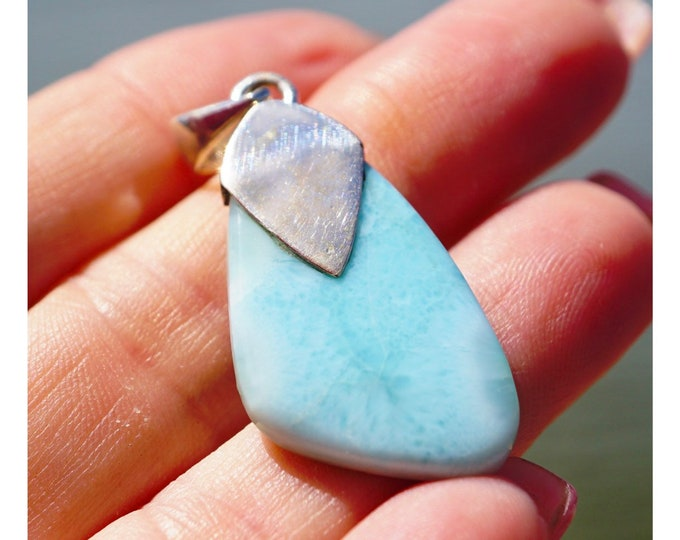"Polished Blue LARIMAR Pendant - 925 Sterling Silver - This Healing Crystal can Defuse Anger and Bring Calm 1.6"" 4.9g JA93"