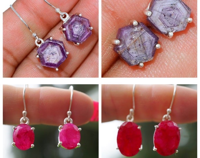 Faceted RUBY Earrings in 925 Star Ruby Rhombohedral or Trigonal Crystal Lattice This Healing Crystal can increase Passion