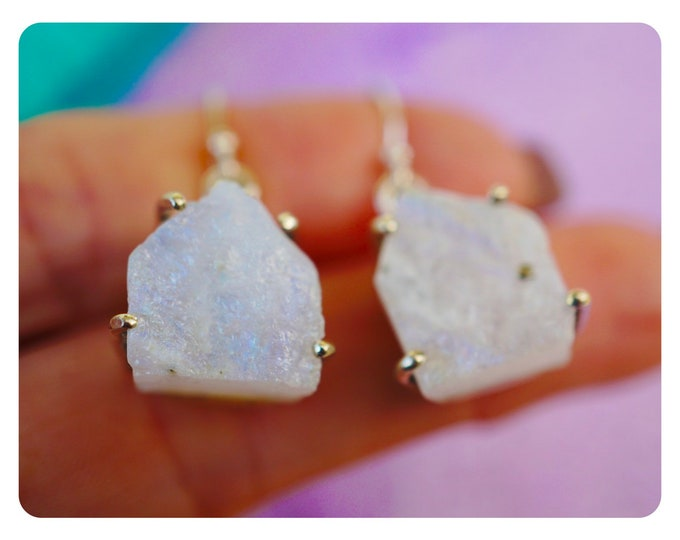 "Raw Blue Fire RAINBOW MOONSTONE Earrings in 925 Silver - These Healing Crystals can make you feel beautiful with goddess energy 1.4"" EJE04"