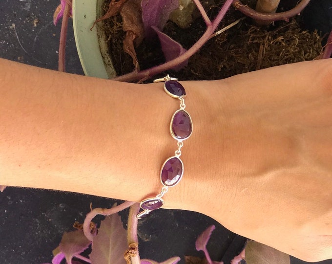 Faceted Amethyst Bracelet 10x8 mm Sterling Silver - This Healing Crystal can assist with addictive behavior - Arkadia