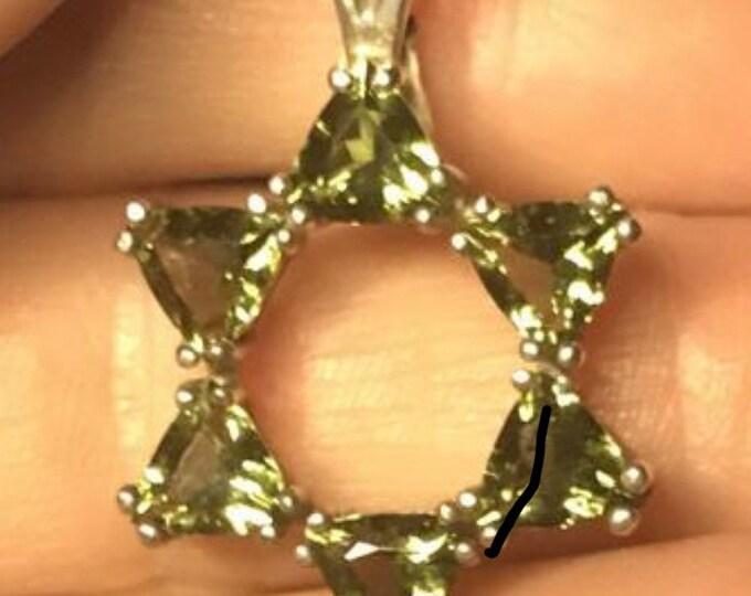 Faceted MOLDAVITE Pendant - 6 Trillions in 925 Silver - HIGH Vibration Healing Crystal Tektite Star of David HM728