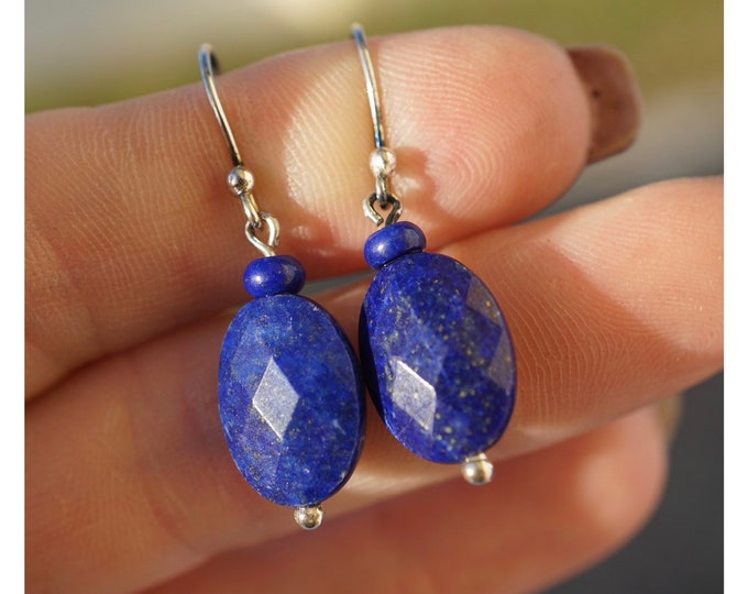 Faceted LAPIS LAZULI Earrings 925 Silver 1.2 inches - This Healing Crystal can promote self awareness and intuition EJE8