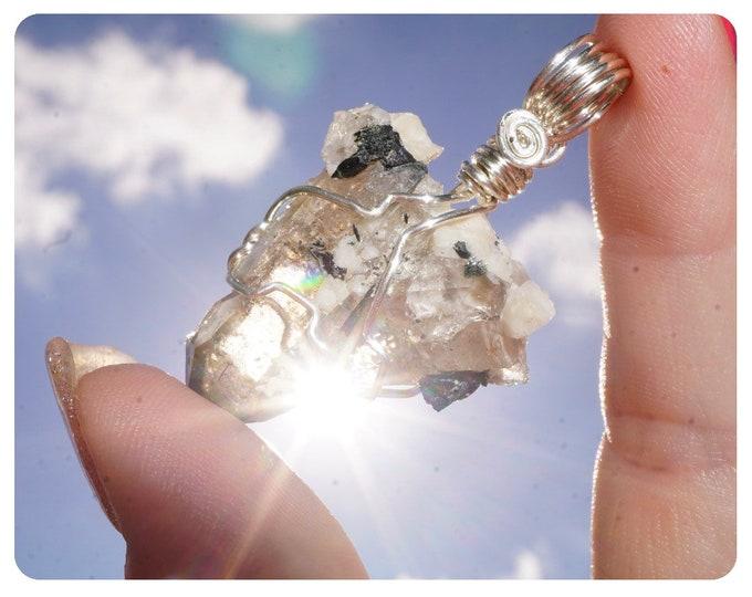 Raw Natural SMOKY QUARTZ & Aegirine Necklace - Silver Wire Wrap  - Skeletal Crystal - Healing Crystal WW11
