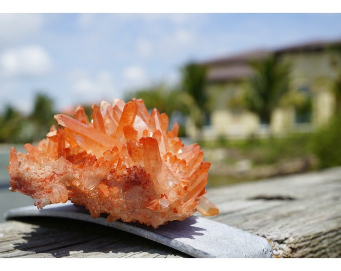Raw TANGERINE QUARTZ Cluster - Over 3 lbs 160x110x70mm - This Healing Crystal can Activate Creative and Sexual Energy
