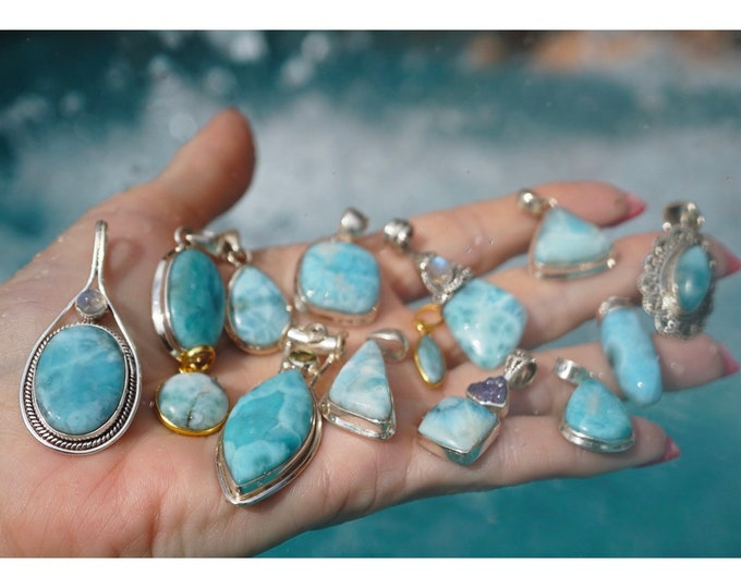 Blue LARIMAR Pendants- Rainbow Moonstone -Tanzanite- 925 Silver or 14 kt Gold Overly- These Healing Crystals can bring calm PXLR BN1