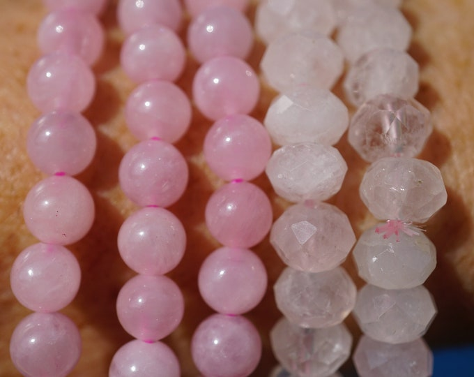 Pink ROSE QUARTZ Stretch Bracelet - Beaded 7.2 inch Bracelets - This Healing Crystal can give you Unconditionally Love B88