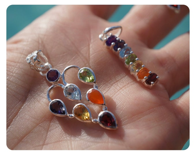 Rainbow CHAKRA stone Pendants in 925 sterling silver ring with Genuine Gemstones in Chakra Colors BN1