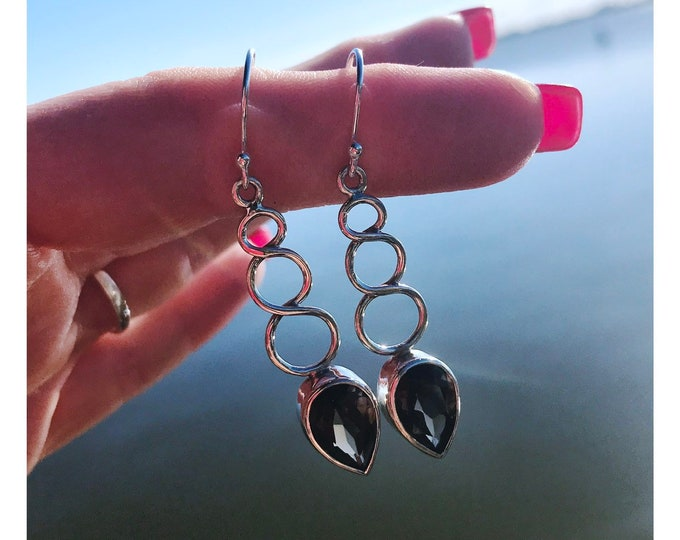 """Faceted Natural Smoky Quartz Earrings 925 Sterling Silver - This Healing Crystal can ground you to heaven and earth -  1.7"""" 4.5 grams"""