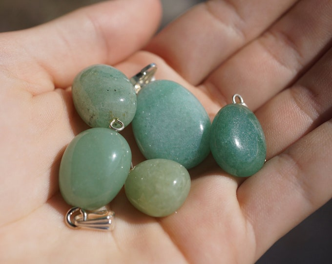 """Tumbled Green AVENTURINE Minimalist Pendant- .5 - 1"""" - This Healing Crystal can bring you Abundance and life force b4"""