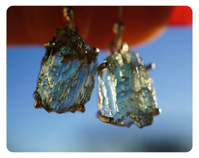 Raw MOLDAVITE Dangle Earrings 925 Silver - Star Earrings This Healing Crystal can Rapidly put you on your spiritual path 37mm HEB06