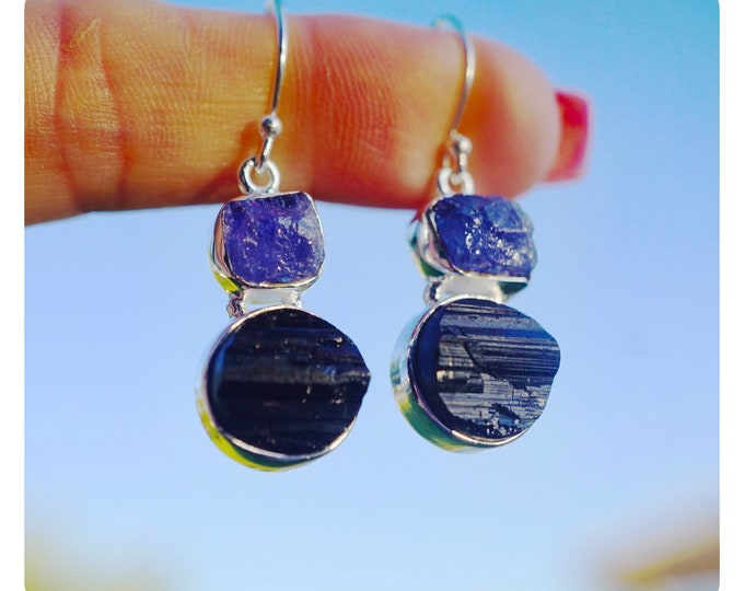Raw Black TOURMALINE Earrings with Raw TANZANITE - This Healing Cryatal can provide Protection and Grounding EXBTT