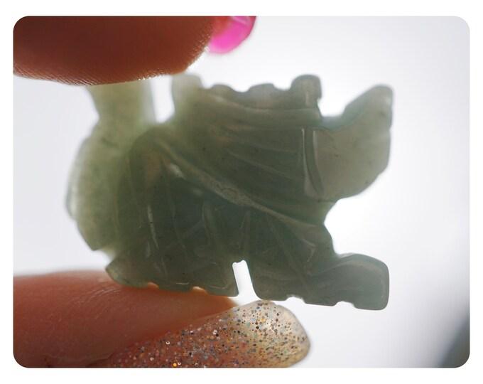 Clear QUARTZ Dragon Carving - Also AVENTURINE or Blue Gold Stone - Carved Dragon 22mm - Crystal Dragon Spirit Animal Totem Animal SA88