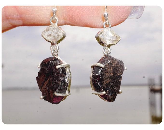 Noble Elite Silver SHUNGIATE Earrings Karelia Russia w Herkimer Diamonds -  925 Silver - Said to Heal Deep, Protects, Purifies EXSG1