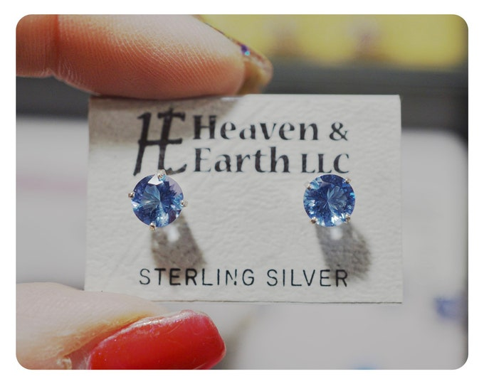 Faceted SIBERIAN BLUE Quartz Earrings - 2 sizes - 925 Silver - This Blue Healing Crystal can give Mental Clarity P245 P246